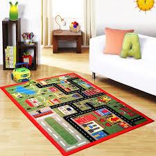 Green town children colorful non slip floor play mats girls boys kids fun  rugs
