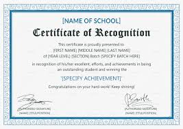 Certificate Recognition Outstanding Student Recognition Certificate Template