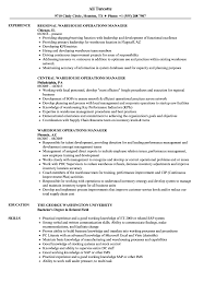 Warehouse Manager Resume Sample Warehouse Operations Manager Resume Samples Velvet Jobs 8