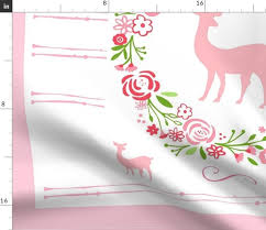 Growth Chart Design Fabric By The Yard Growth Chart 54 Shabby Chic Petal Deer Personalized Elizabeth Rose