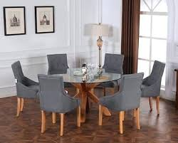 oak glass top dining table new design modern round tempered glass top dining table solid oak