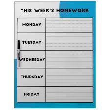 Weekly Homework Planner Weekly Homework Schedule Dry Erase Board