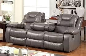 javier recliner sofa with drop down table in microfiber reclining prepare 4