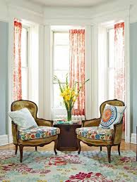 bay window furniture living. Vintage Living Room Themed Feat Floral Accents Rugs Plus Perfect Bay Window Design With Orange Fabric Curtain Furniture S