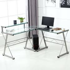 glass computer desk uk ikea l shape corner computer desk pc glass laptop table workstation home
