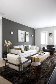 Inspiring accent wall living room white ceiling dark and bright painted wall  white sofa black and