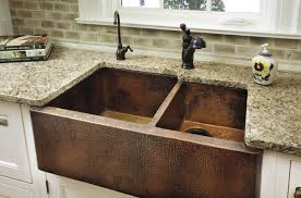 Lovely Rustic Double Copper Farm Sinks With Black Wrought Iron Water Faucets In  Different Style Granite Kitchen