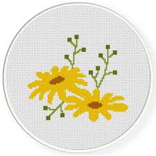 Charts Club Members Only Spring Yellow Flower Cross Stitch Pattern