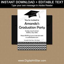 Graduation Invitation Template Stunning Black And White Graduation Announcement Template Boy Etsy