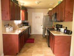 charming brown shade galley kitchen remodel with vintage stove and refrigerator