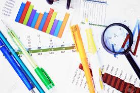 Arrangement Of Graphs Charts Pencils And Pens Felt Tip Pen