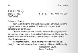 here is the first letter from when zukofsky was only 15 a submission to poetry magazine cover letter for poetry submission