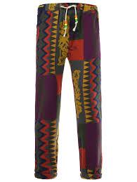 Jogger L Drawstring Color Block Spliced Totem Print Cotton Linen