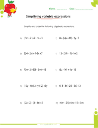 expression worksheets 7th grade