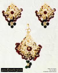beautifully designed indian gold royal jadau pendant set