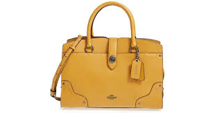 Coach  mercer 30  Leather Satchel in Yellow - Lyst