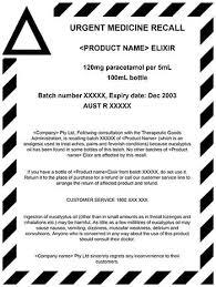 Uniform Recall Procedure For Therapeutic Goods Urptg 2004 Edition