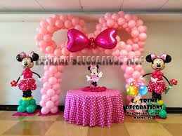 minnie ears pink balloon arch with bow polka dots minnie mouse cake table decoration