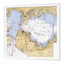 3drose Print Of San Francisco Bay Nautical Chart Iron On Heat Transfer 8 By 8 Inch For White Material