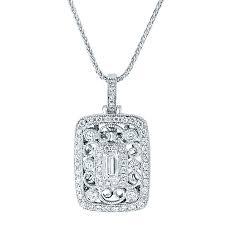 18ct white gold rectangular filigree brilliant baguette cut diamond pendant