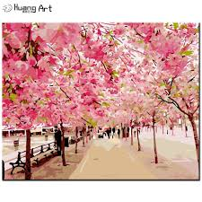 diy oil painting by numbers handmade cherry blossom tree painting wall picture for home decor pink