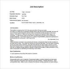 wells fargo teller jobs bank teller job description template 7 free word pdf format