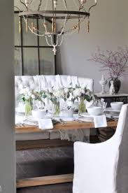 simple dining room table decor. Easter Dining Room Table Decor With White Hydrangeas And Tulips Simple