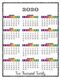 2020 Year At A Glance Calendar Template 2020 Printable Caribbean Color Calendar 2020 Wall Calendar