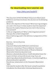 eed week classroom observation reflection and interview for ing more tutorials bitly com 1wysat5 this document record the teacher s responses
