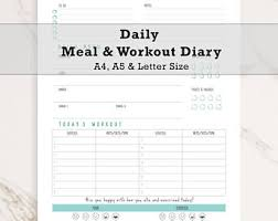 workout and food journal food diary etsy