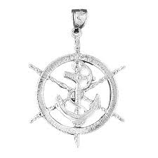 sterling silver 925 ships wheel with anchor pendant sterling silver pendants at jewelsobsession com