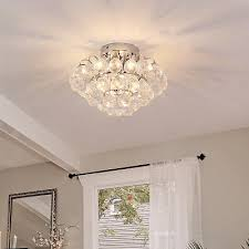 ceiling lamp chandelier flush mount pendant 3 light crystal silver Ф30cm hallway
