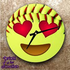 Softball Bedroom Softball Emoji Clock Softball Gift Softball Emoji Wall Clock Emoji
