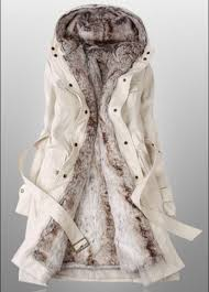 winter coats for women with faux fur lining in beige from charmaco on nvy