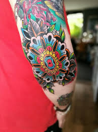 Fresh Today New Ink On My Elbow Neotraditional Style Mandala Done