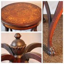 antique round side table image and candle victimist