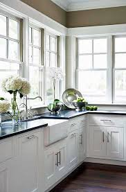 absolute black in a kitchen with a farmhouse sink and white shaker cabinets