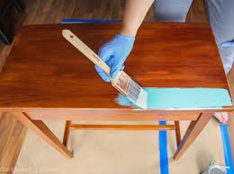 beginning the first coat of my first project using annie sloan chalk paint