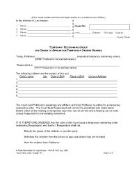 Temporary Restraining Order Texas Child Custody - Sao Mai Center