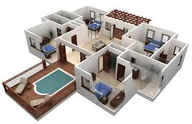 three bedroom home  sweet home d draw floor plans and arrange    Modern House Design Plan d