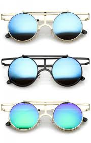 colored mirror clear lens round sunglasses 44mm zoom