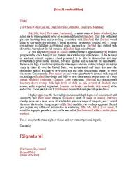 General Letter Of Recommendation Template College And University