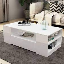 modern coffee table 2 drawers cabinet