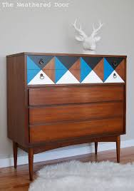mid century modern furniture restoration. painted furniture dresser geometric mid century modern restoration e