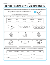 Phonics is like an adventure. Practice Reading Vowel Diphthongs Ou Worksheet Education Com
