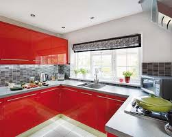 Red Kitchen Cabinets And Gray Wall Design