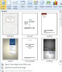 Microsoft Office Word Cover Page Templates How To Add A Cover Page In Word 2010 Smart Office
