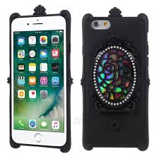 dazzling flower rhinestone real makeup mirror pc tpu phone cover for iphone 6s 6 4 7 inch