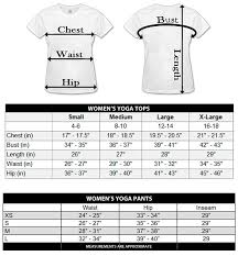 Size Charts For Yoga Tops And Yoga Pants