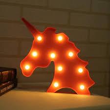 Kids Red Night Light Cute Unicorn Led Night Light Wall Battery Lamp Baby Kids